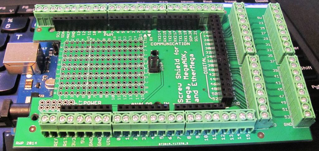 Arduino mega screw terminal shield